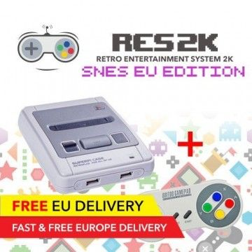 RES2k - SNES EU Version - incl. Retroflag USB Controller - EU Warehouse